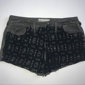 Free People Black Embellished Lace Cutoff Shorts
